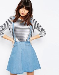 Asos Denim Flippy Skirt With Braces Mid Wash Blue