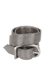 Laura B 32Mm Silver Pleated Brass Mesh Belt