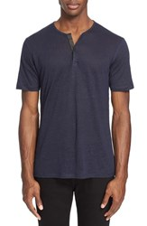 Men's The Kooples Leather Trim Short Sleeve Linen Henley