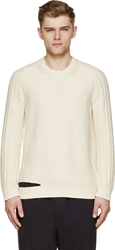Maison Martin Margiela Beige Cableknit Cut Out Sweater