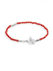 Tateossian Beaded Coral And Sterling Silver Bracelet