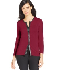 August Silk Faux Leather Trim Cardigan Uno Red