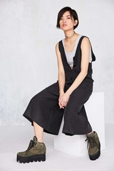 Silence And Noise Lester Button Front Culotte Romper Black