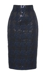 Martin Grant Brocade Houndstooth Pencil Skirt Navy