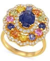 Macy's Multi Sapphire 3 2 3 Ct. T.W. And Diamond 2 3 Ct. T.W. Floral Inspired Ring In 14K Gold