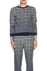 Band Of Outsiders Melting Plaid Crewneck Sweatshirt In Blue Checkered And Plaid Ombre And Tie Dye