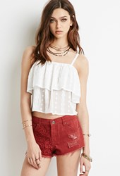 Forever 21 Embroidered Panel Cutoffs Rust Rust