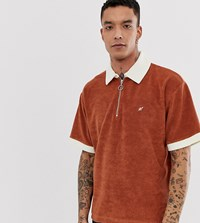 Heart And Dagger Towelling Half Zip T Shirt In Brown