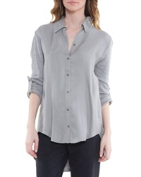 Xcvi Priscilla 3 4 Sleeve High Low Blouse Timber Wolf