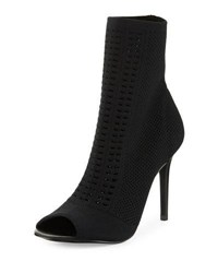Charles By Charles David Rebellious Mesh Knit Open Toe Bootie Black