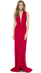 Thakoon Deep V Neck Gown Ruby
