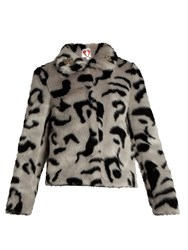 Shrimps Bingo Embellished Faux Fur Jacket Grey Multi