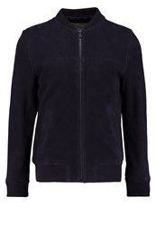 Revolution Leather Jacket Navy Dark Blue