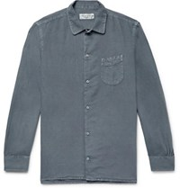 Officine Generale Slim Fit Pigment Dyed Cotton And Linen Blend Shirt Anthracite