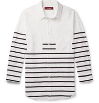 Sies Marjan Kyan Striped Cotton Blend Poplin Shirt White