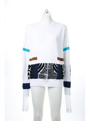 Toga Patchwork Contrast Boat Neck Sweatshirt White