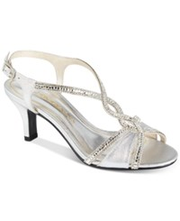 Caparros Lilly Embellished Evening Sandals Women's Shoes Silver Metallic