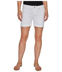 Liverpool Vicki Rolled Cuff Shorts With Destruct Detail On Super Soft Stretch Denim In Bright White Bright White Women's Shorts