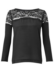 Marella Balance Lace Detail T Shirt Black