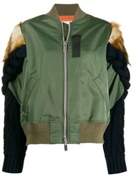 Sacai Knitted Sleeve Bomber Jacket Green