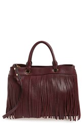 Milly Fringed Leather Tote Burgundy Bordeaux