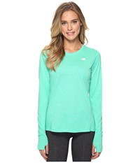New Balance Heathered Long Sleeve Shirt Deep Jade Heather Women's Long Sleeve Pullover Green