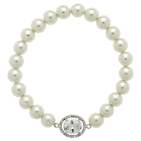 Finesse Faux Pearl Large Oval Crystal Bracelet White