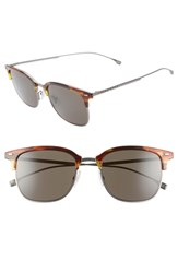 Boss 53Mm Special Fit Semi Rimless Sunglasses Brown Horn