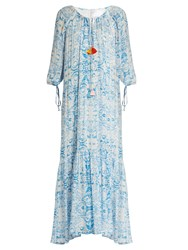Athena Procopiou The Midsummer's Sky Maxi Dress Blue White
