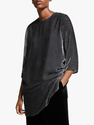Eileen Fisher Stripe Velvet Tunic Top Charcoal