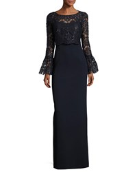Rickie Freeman For Teri Jon Long Bell Sleeve Sequined Lace Popover Gown Blue Blue Pattern