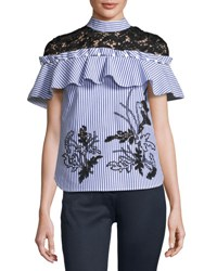 Self Portrait Striped Frill Shirt With Contrast Floral Guipure Lace Navy White
