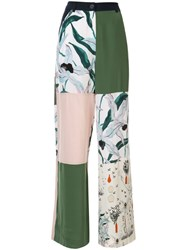 Tory Burch Printed Block Trousers White