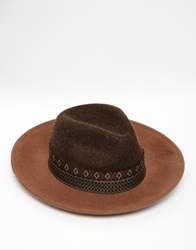 Asos Wide Brim Fedora Hat In Brown Felt With Aztec Print Band