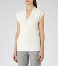 Reiss Nichol Womens Knitted Cap Sleeve Top In White