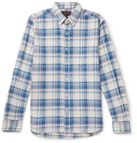 Beams Plus Button Down Collar Checked Cotton And Linen Blend Twill Shirt Blue