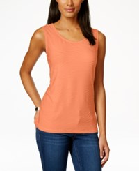 Jm Collection Scoop Neck Textured Jacquard Tank Top Only At Macy's Seashell Peach