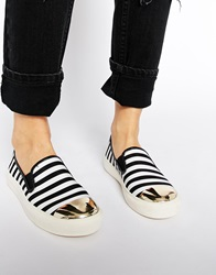 New Look Metalhead Toe Cap Stripe Slip On Trainers Blackwhite