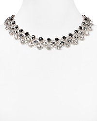 Abs By Allen Schwartz Three Row Mixed Rhinestone Necklace Silver