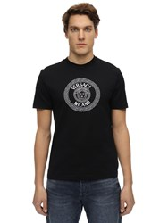 Versace Embroidered And Printed T Shirt Black