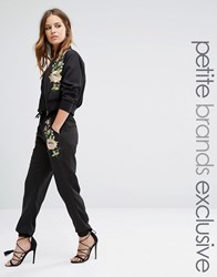 Glamorous Petite Floral Embroidered Jogger Black