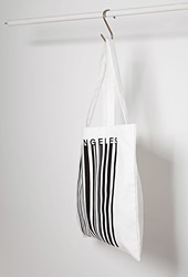 Forever 21 Los Angeles Barcode Graphic Tote White Black