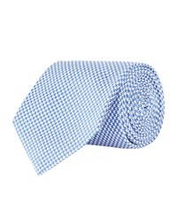 Turnbull And Asser Puppy Tooth Silk Tie Unisex Blue