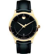 Movado 0606875 1881 Automatic Gold Plated And Leather Watch Black