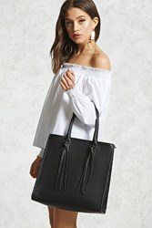 Forever 21 Faux Leather Tassel Tote Bag Black