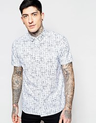 Brave Soul Beach Print Short Sleeve Shirt White