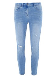 Dorothy Perkins Blue Ripped Skinny Ankle Grazer Jeans