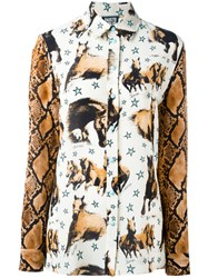 Fausto Puglisi Horse Print Shirt Nude And Neutrals