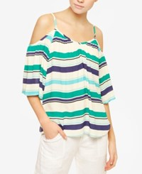 Sanctuary Camilla Floral Print Cold Shoulder Top Montego Bay