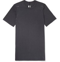 Rick Owens Level Cotton Jersey T Shirt Charcoal